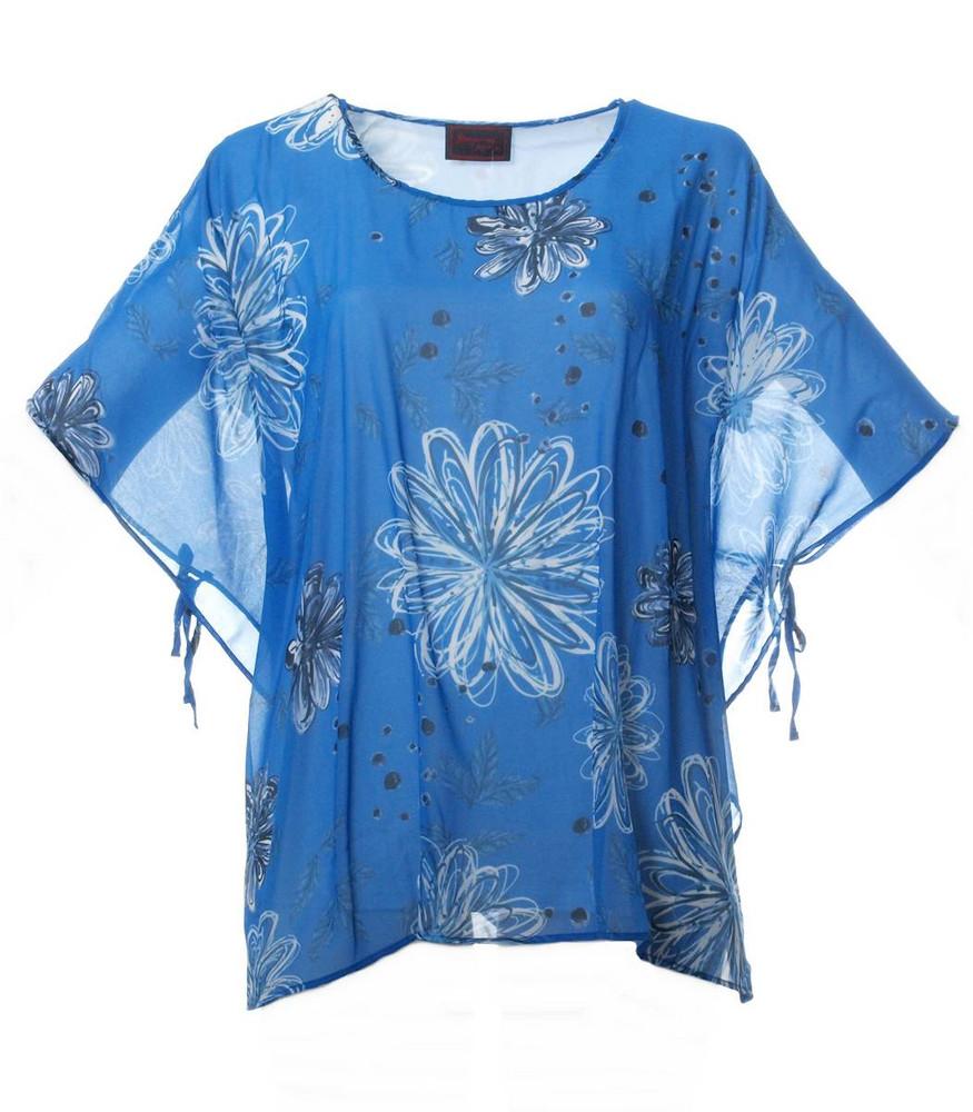 Sempre Piu Chiffon Damen Bluse Khaki große Größen kurzarm elegant mit Unter-Top
