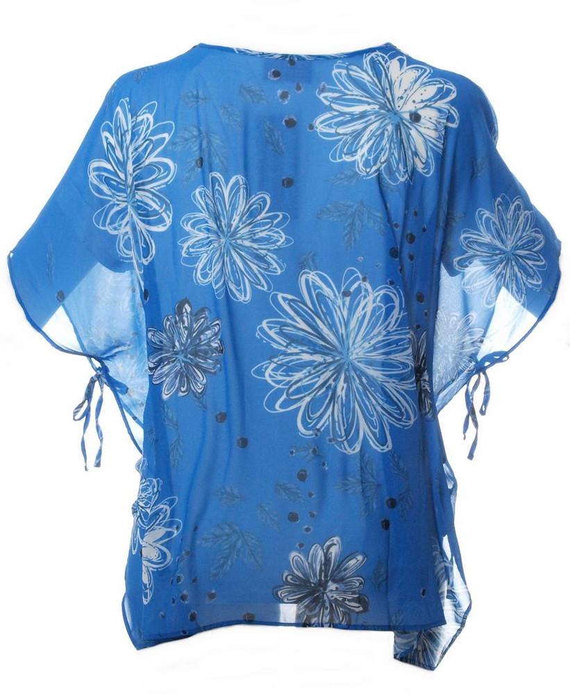 Chiffon Bluse Blau große Größen