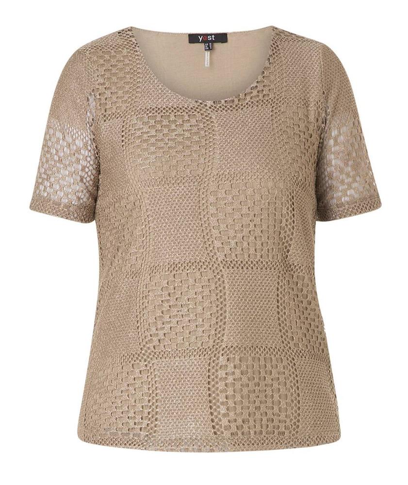 spitzenshirt beige kurzarm t shirt damen gro e gr en. Black Bedroom Furniture Sets. Home Design Ideas