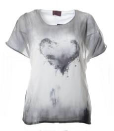 Chiffon-Shirt Grau Weiß kurzarm mit Herz für mollige Damen  001