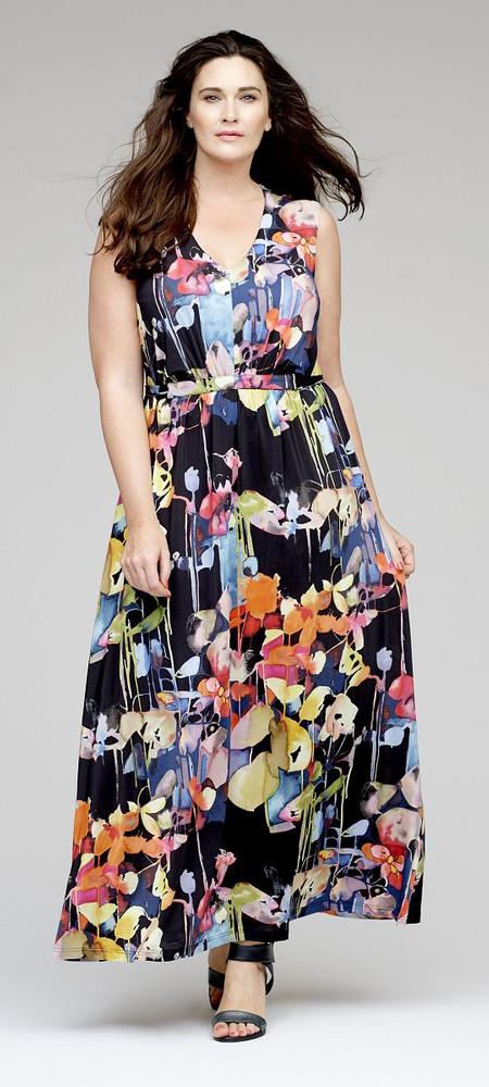 quality design de23b 5e706 Ärmelloses Sommer-Kleid mit Jacke in Schwarz mit bunten Blumen