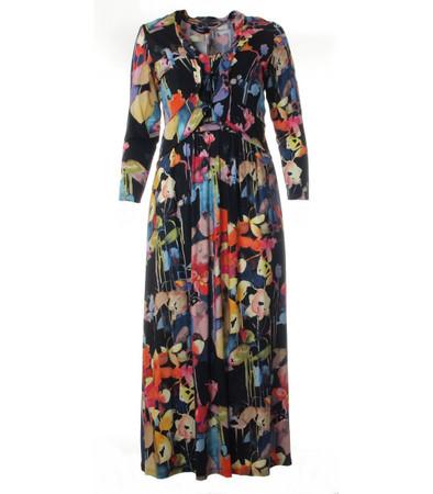 Ärmelloses Sommer-Kleid mit Jacke in Schwarz mit bunten Blumen