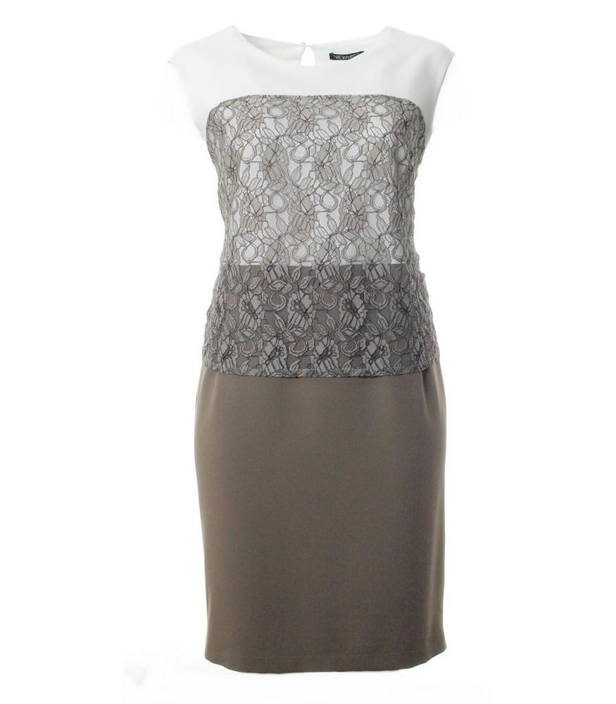verpass sommer-kleid taupe khaki knielang ärmellos mit spitze | mode für  mollige ❤ damenmode online shop für große größen