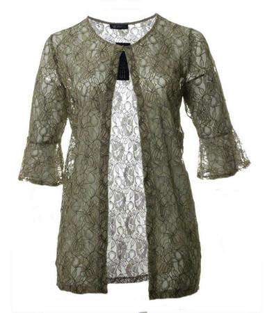 Verpass Shirtjacke aus Spitze Khaki Taupe transparent
