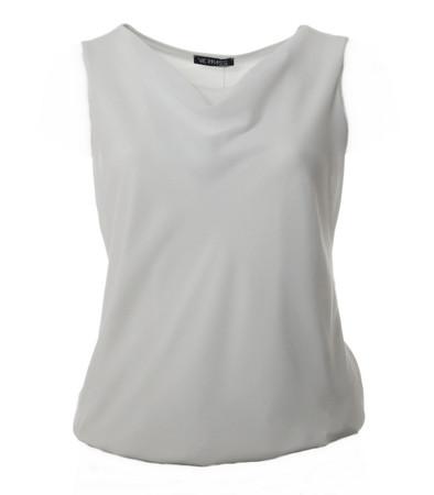 Verpass Chiffon Damen Top mit Wasserfall-Ausschnitt Schwarz, Weiß
