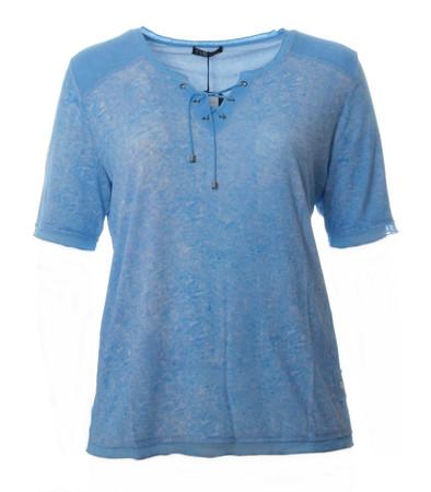 No Secret T-Shirt mit Schnürung Damen Hell-Blau meliert große Größen
