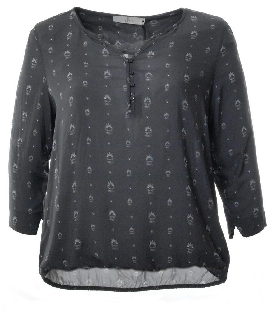 Offizieller Lieferant neue Fotos Farbbrillanz 3/4 Arm Bluse für Damen mit Froschkönig große Größen in Grau | Mode für  Mollige ❤ Damenmode Online Shop für große Größen