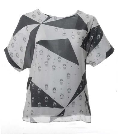 Kurzarm Bluse für Damen mit Froschkönig große Größen in Weiß Grau