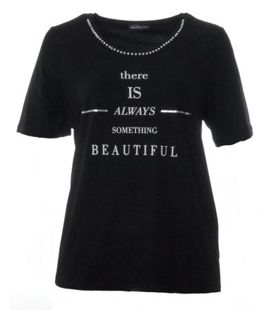 Seeyou T-Shirt Damen Schwarz mit Halskette und Aufschrift große Größen