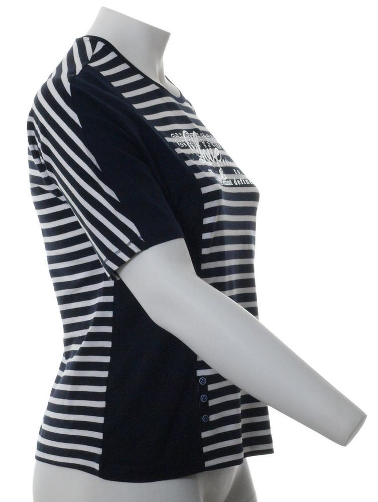 T Shirt Damen Marine Blau geringelt mit Straß große Größen
