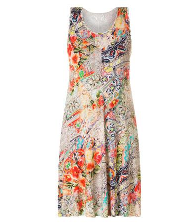 Ärmelloses Kleid Damen wadenlang Bunt A-Linie