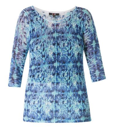 Strickshirt Longshirt  Blau mit 3/4 Arm für Damen mit großen Größen