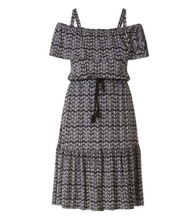 Kleid schulterfrei mit Rüschen Damen wadenlang große Größen Schwarz Weiß
