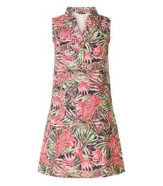 Leinenkleid knielang Damen A-Linie Pink Grün 001