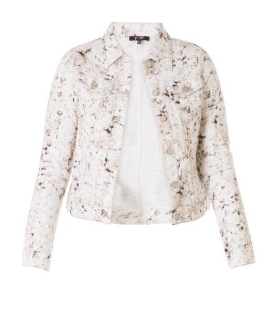 Jeansjacke Damen Weiß Braun Stretch Baumwolle