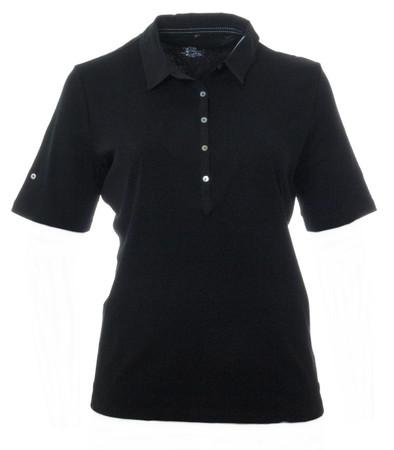 No Secret Damen Poloshirt Schwarz Kurzarm große Größen 100% Baumwolle