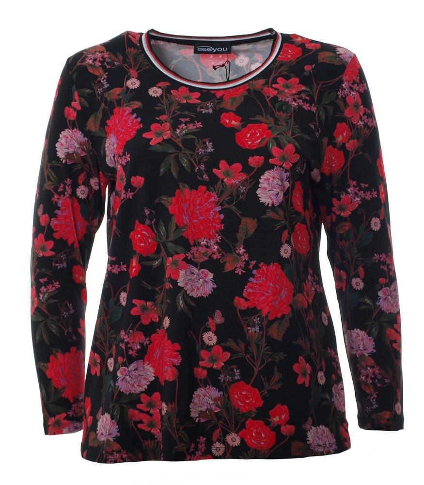 damen langarm shirt schwarz rote rosen große größen   mode für mollige ❤  damenmode online shop für große größen