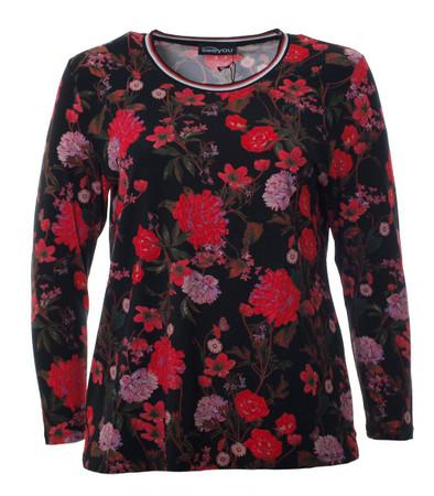 Damen Langarm Shirt Schwarz rote Rosen große Größen