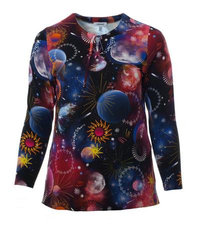 KjBrand Damen Langarm Shirt Bunt Planeten Schnürung große Größen