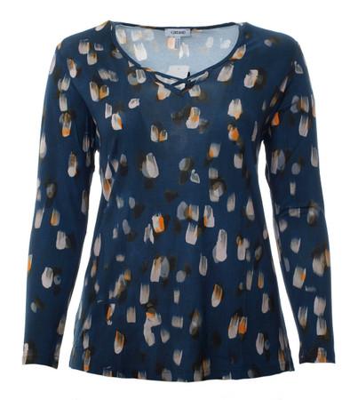 Damen Langarm Shirt Blau mit V-Ausschnitt große Größen