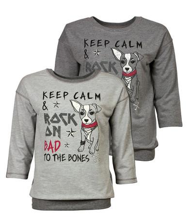Sweatshirt Damen Grau mit kleinem Hund Hündchen