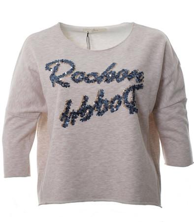 Oversize Sweatshirt Damen Beige mit Pailletten