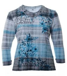 Langarm Shirt 3/4 Arm Damen Grau Türkis  xxl große Größen 001