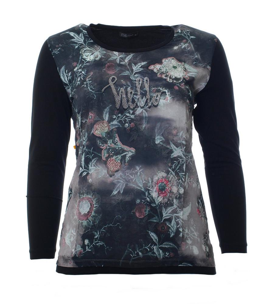 82ebc46b42d40a No Secret Damen Langarm-Shirt Schwarz mit Strass