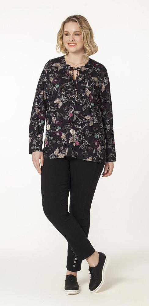 wholesale dealer 3753a e28eb No Secret Langarm Tunika Damen Schwarz mit Blumen und V-Ausschnitt