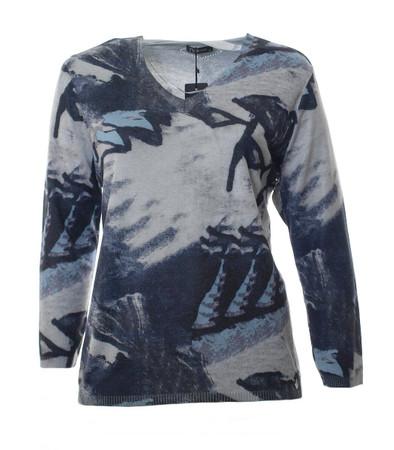 No Secret Pullover Damen Grau Schwarz Blau mit V-Ausschnitt