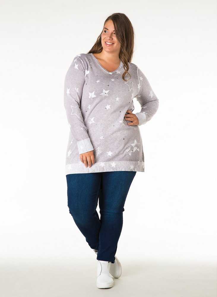 3c53c26e2b1844 Long-Pullover Damen mit Sterne Grau V-Ausschnitt Baumwolle
