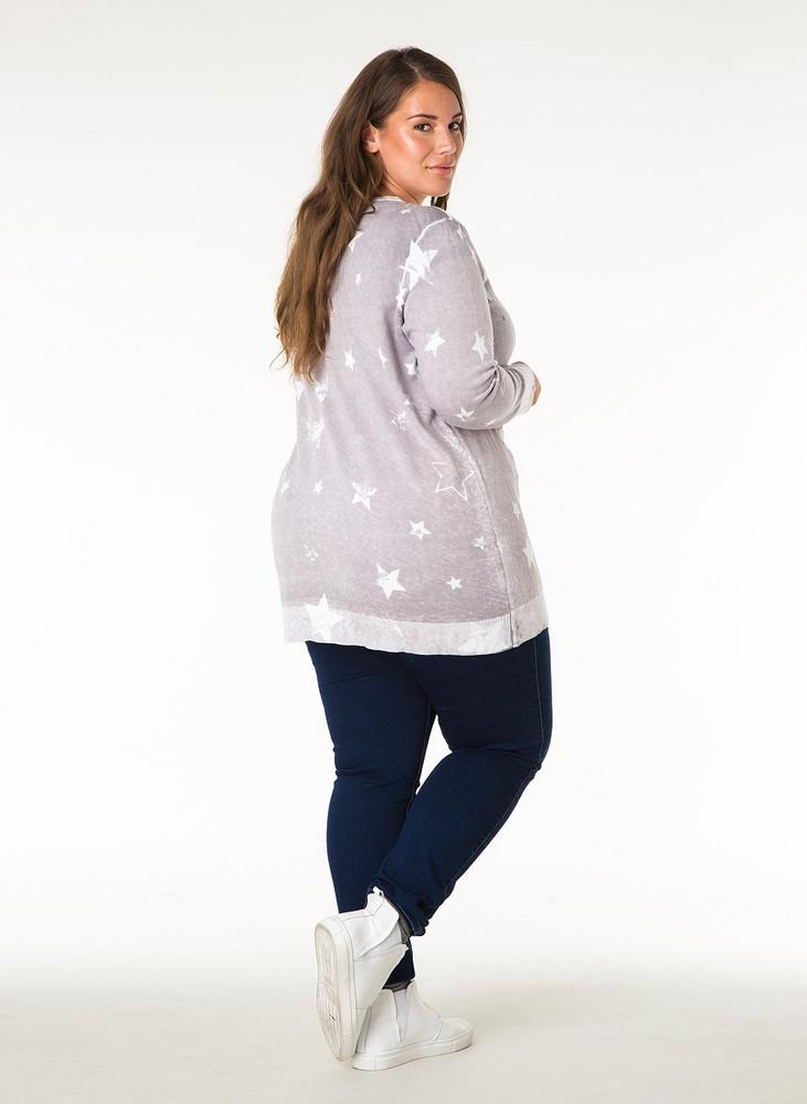 a59ccdd919b766 Long-Pullover Damen mit Sterne Grau V-Ausschnitt Baumwolle – Bild 3