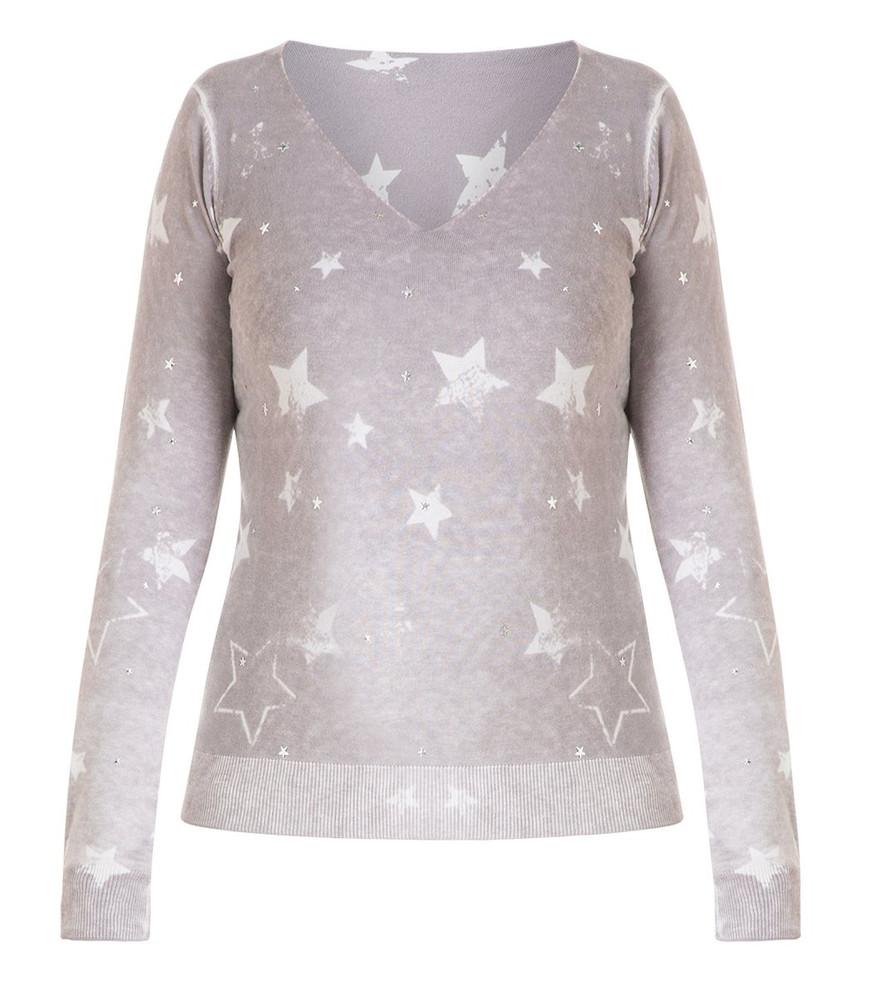 release date b5c20 3abc9 Long-Pullover Damen mit Sterne Grau V-Ausschnitt Baumwolle | Mode für  Mollige ❤ Damenmode Online Shop für große Größen