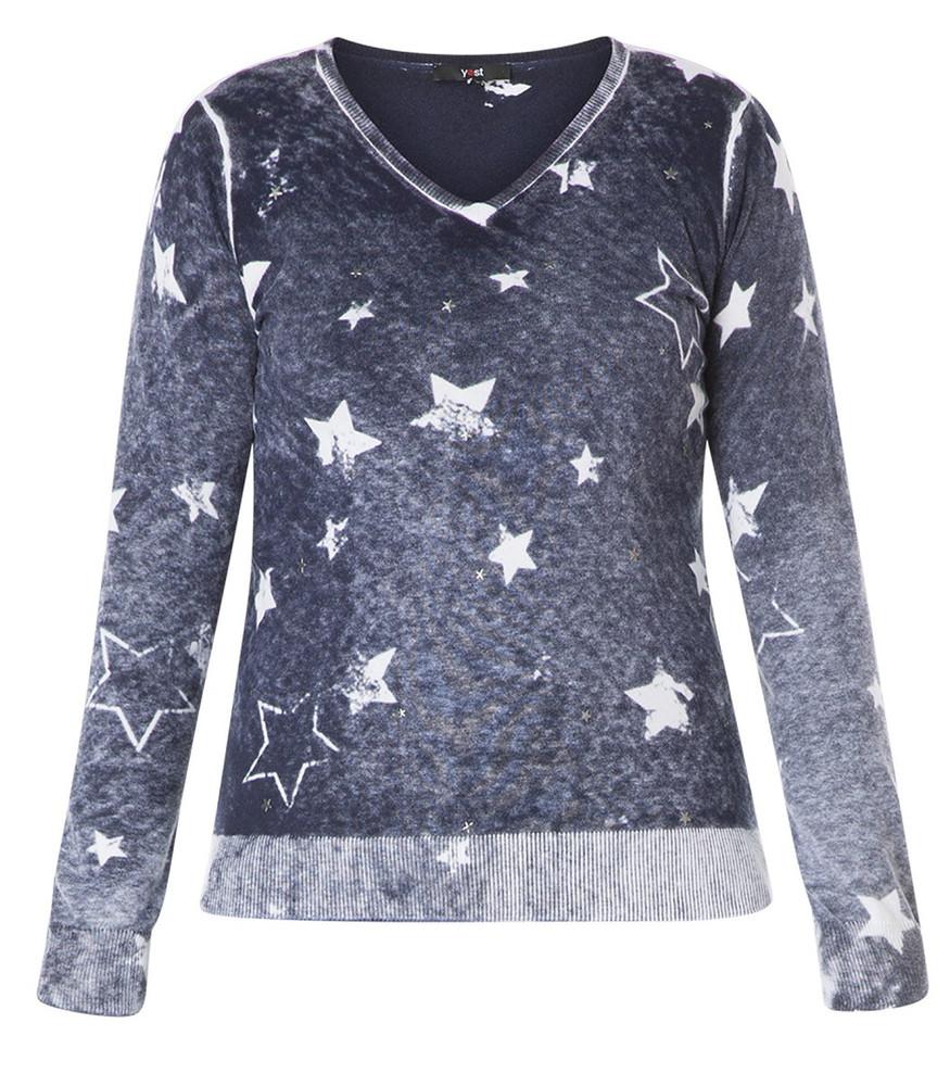 damen pullover long pullover damen mit sterne blau v ausschnitt baumwolle mode  long pullover damen mit sterne blau v