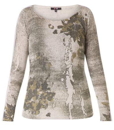 Glitzer Pullover Damen Beige Grün mit Batik Muster Viskose
