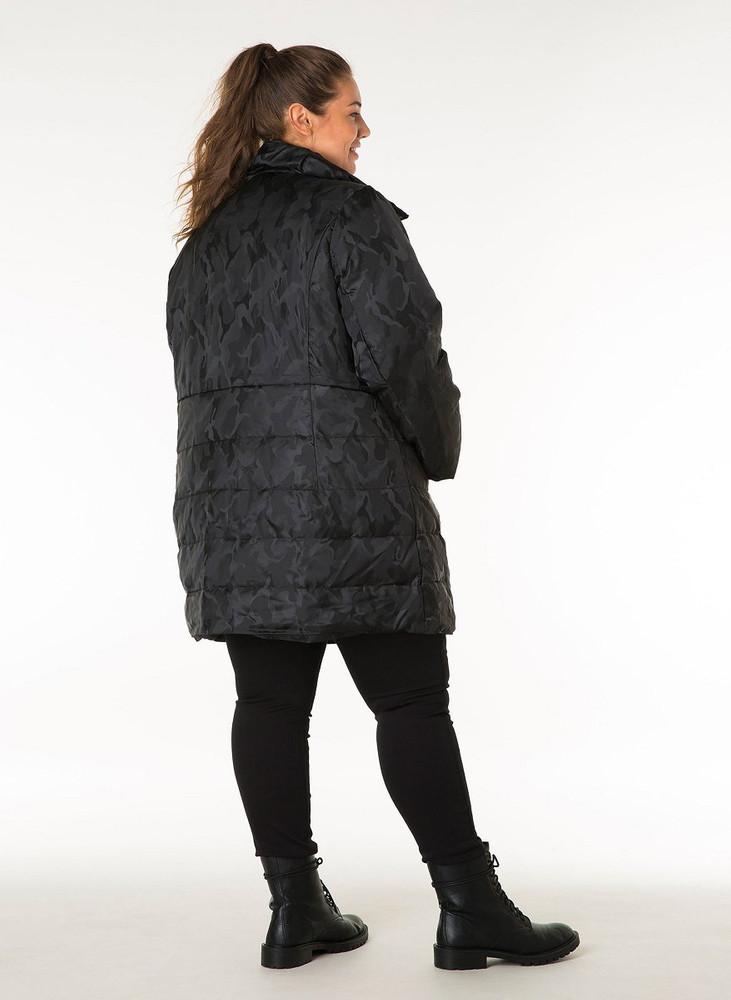 Großhandel große Auswahl an Farben und Designs 100% Qualitätsgarantie Herbst-Mantel Kurzmantel Damen Schwarz mit Camouflage-Muster