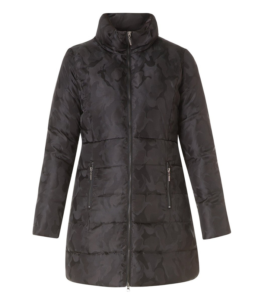 Herbst-Mantel Kurzmantel Damen Schwarz mit Camouflage-Muster 523229d793