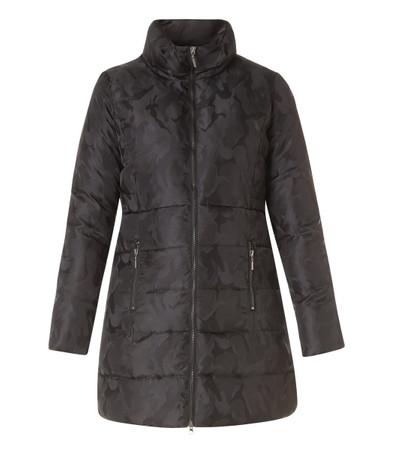 Herbst-Mantel Kurzmantel Damen Schwarz mit Camouflage-Muster