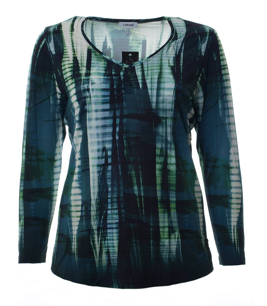 damen langarm shirt gr n blau mit v ausschnitt gro e gr en. Black Bedroom Furniture Sets. Home Design Ideas