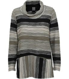 Damen Langarm Shirt Rita in Oliv Beige mit Rollkragen von Pont Neuf 001