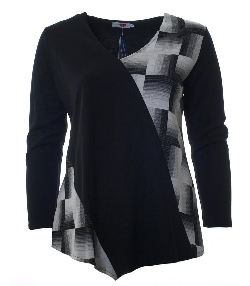 promo code b12d6 79626 Sweatshirt Schwarz Weiß asymmetrisch kariert | Mode für Mollige ❤ Damenmode  Online Shop für große Größen