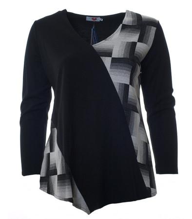 Sweatshirt Schwarz Weiß asymmetrisch kariert