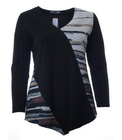 Sweatshirt Schwarz Weiß große Größen asymmetrisch gesteppt