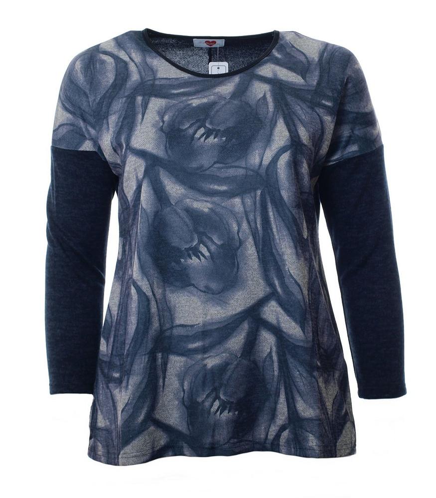 classic fit f0570 ee009 Langarm-Shirt Damen Blau mit Blumen