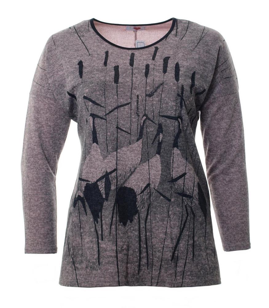 Shirt Langarm Damen Rosa Melange Grau Mit Reiher Mode Fur