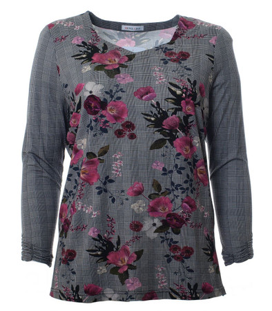 Shirt Damen Langarm Grau mit Blumen Große Größen