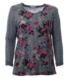 Shirt Damen Langarm Grau mit Blumen Große Größen 001