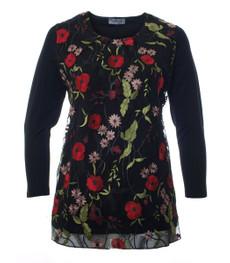 Longshirt Damen Schwarz mit Spitze Blumen-Muster große Größen 001