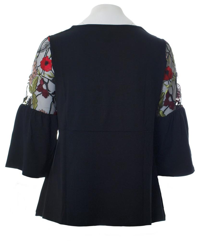 shirt mit trompeten-Ärmel schwarz mit spitze kurz-größe