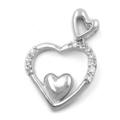 Anhänger, Kettenanhänger Herz im Herzen mit Zirkonia, 925 Silber